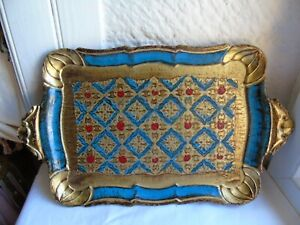 Italian Florentine gilded wooden tray vintage collectible