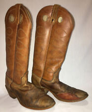 Vintage Womens Acme Sz 7 1/2C Tall Camel Brown Tan Leather Cowboy Boots Used