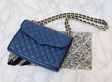 REBECCA MINKOFF Blue Mini Quilted Affair Gold Chain Strap Classic Shoulder Bag