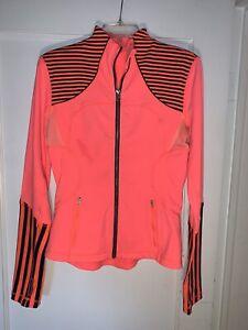 Lululemon Forme Jacket Stripe Light Flare Inkwell Neon Full Zip Size 6