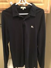 Burberry London Classic Fit Black Long Sleeve Polo Small