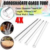 4Pcs 100mm OD 7mm 1.5mm Thick Wall Borosilicate Glass Blowing Tube laboratory
