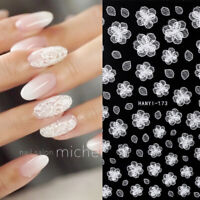 3D Nail Stickers White Flower Nail Art Transfer Decals Fairy Tales Paper Tips