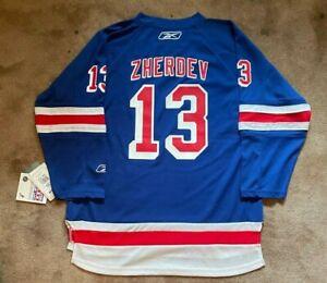 Reebok New York Rangers Nikolai Zherdev Youth L / XL #13 Blue Hockey Jersey