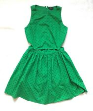 TOPSHOP Size 12 Green Cotton Summer Dress Cut Out Waist Festival Beach Holiday