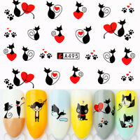 3X Water Decals Little Black Cat Series Nail Art Decorations Transfer Stickers