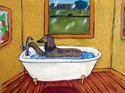 afghan Hound dog art PRINT poster painting modern bathroom JSCHMETZ 13x19 modern