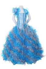 New Girl Glitz Pageant Wedding Ruffled Dress Bolero Turquoi/Silver 2 4 6 8 10 12