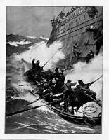 LIFE SAVING 1889 LIFE-BOAT FILLING THE LIFE-BOAT RESCUE
