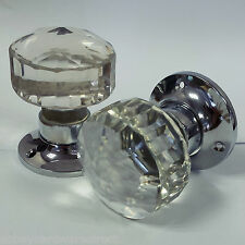 Glass Mortice Door Knobs Crystal Cut Handles Chrome Plated Backplate - 4 Pairs