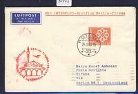 43955) DDR DH FF Berlin - Tirana 8.4.60, Brief ab Schweiz, Best.-Stpl Wischer