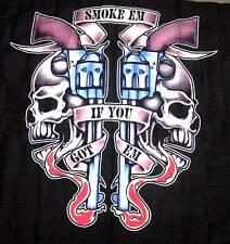 """SMOKE EM GUN SKULLS  WALL BANNER    """"FREE SHIP"""""""