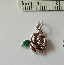 Sterling Silver 15x13mm Red & Green Enamel Rose & Leaf Charm