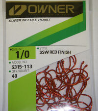 OWNER HOOKS SSW ALL PURPOSE BAIT RED SUPER NEEDLE POINT 5315-113 SZ 1/0 QTY 40