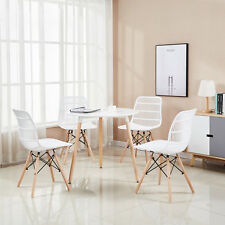 Set of 4 Modern White Garden Dining Chair Outdoor Patio Lounge Plastic Chair