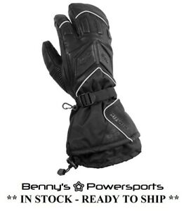 Mens Castle X TRS 3 Finger Glove Leather Textile Snowmobile Waterproof Windproof