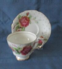 PARAGON CUP & SAUCER GOLDEN EMBLEM WHITE WITH LARGE PINK ROSES EXCELLENT CONDITI