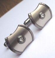 boutons de manchette bijou vintage rhodié couleur argent avec déco cristal 2239