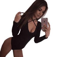 Women Long Sleeve Plunge Deep Round Neck Bandage Bodycon Bodysuit Top Jumpsuit Red 6