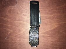 Saks Fifth Avenue Leather Bracelet Bangle Wristband Black & Silver NEW