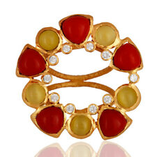 Handmade Yellow Moonstone Red Coral Gold Plated Brass Fashion Rings Jewelry