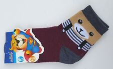 BABY Girls Boys Bear In Dungarees Stripey Socks Burgundy Beige Infants UK 1-3