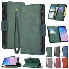 For Samsung Galaxy Note 10 S20 Zipper Wallet Flip Card Holder Leather Case Cover