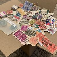 U.S. STAMPS BOX LOT OFF PAPER INCLUDING BUNDLES, HIGH DENOM, AIRMAIL AND MORE