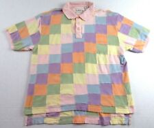 ORVIS Sporting Traditions Pastel Patchwork SS Cotton Golf Polo Shirt Size XL