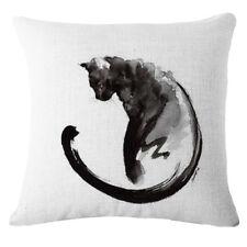 Cat Chinese Art Pillow Cover Case Cotton Linen 17 x 17