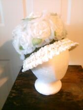 Vintage 1950's Hand Sewn Spring Sunday Hat White Floral Detailing Roses