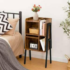 Industrial Bedside Table Sofa Side End Table Nightstand Wood Shelf Metal Frame