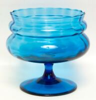 Vintage Blue Glass Compote Footed Bowl Turquoise Candy Dish Ribbed Sides Softly