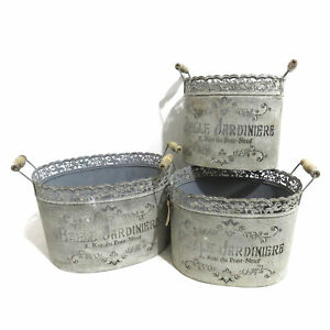 Set of 3 French Style Metal Planters with Handles & 'Belle Jardini???re' Wording