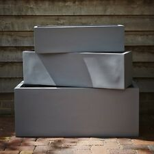 100cm Grey Fibrestone Contemporary Trough Planter/Plant Pot/Window Box/Container