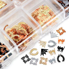 3 Colors 4 Shape Halloween Cat Spider Web Metal Seuqins Nail Art Slice Decal Tip