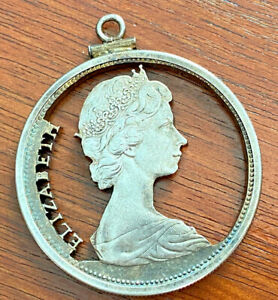 1966 Canada Silver Dollar Elizabeth Coin Cutout Pendant 925 Silver Bezel Pendant