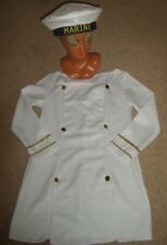 LADIES SAILOR GIRL FANCY DRESS COSTUME WHITE UNIFORM NAVY 10 USED