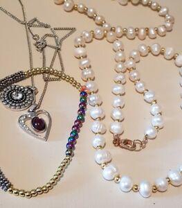 Bulk Fine Jewellery Genuine Rainbow Hematite  Pearls Bracelet gold Necklace