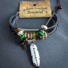 McKenzie Wrap Bracelet Leather Personalize Name Boho Wood Beads Green Sparkle