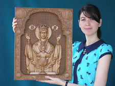 """20"""" Inexhaustible Cup Orthodox Wooden Carved Icon Large god. Christian Gift."""
