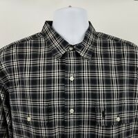 Polo Ralph Lauren Classic Fit Men Black Plaid Flap Pocket L/S Button Shirt Sz XL