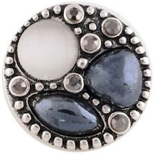 Black Gray White Stones Rhinestones 18mm Snap Interchangeable For Ginger Snaps