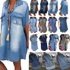 Women's Denim Dresses Summer Short Sleeve Lady V-Neck Loose Shirts Dresses Plus