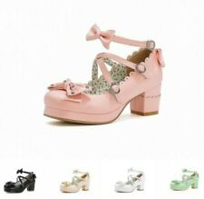 5 Colors Women Pricess Style Chunky Heel Round Toe Bowknot Buckle Strap Shoes L