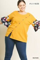 Umgee Plus Size mixed print ruffle sleeve button scoop neck Top xl 1x 2x