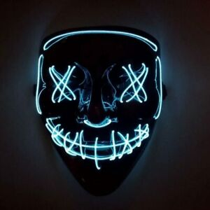 Halloween Clubbing Light Up LED Mask Costume Rave Cosplay Party Purge 3 Modes