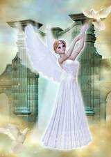 Historic Angel Girls Birthday Card for women and girls with heavenly doves