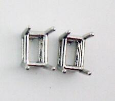 8mm x 6mm Emerald Cut Earrings Mounts 14K Solid White Gold Settings