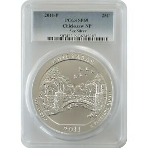 2011-P Chickasaw America The Beautiful ATB 5 Oz Silver Coin PCGS SP69